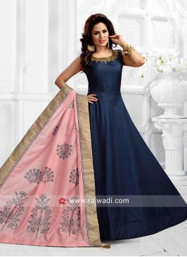 Navy Blue Anarkali with Pink Dupatta