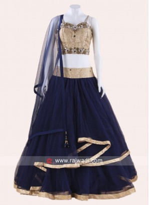 Navy Blue and Golden Lehenga Choli