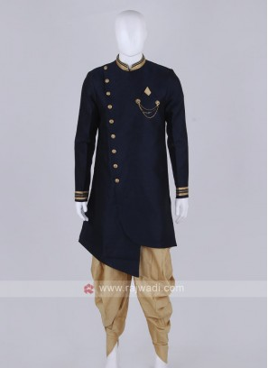 navy blue and golden patiala suit