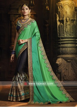 Navy Blue and Green Heavy Work Saree