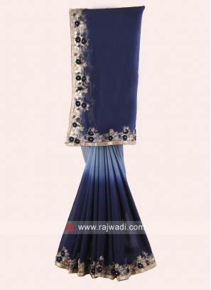 Navy Blue and Grey Shaded Saree