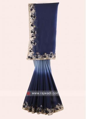 Navy Blue and Grey Shaded Saree
