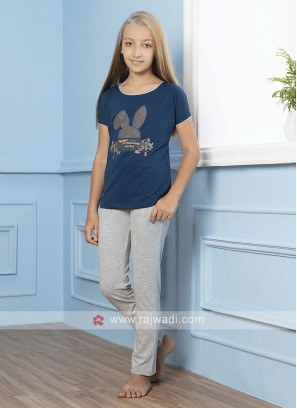 Navy Blue And Grey Sleepwear