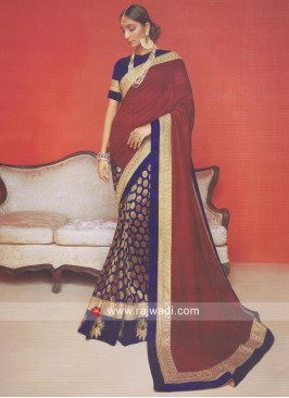 Navy Blue and Maroon Half Saree
