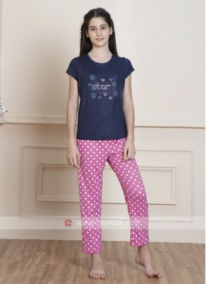 Navy Blue And Pink Sleepwear