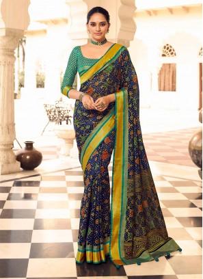 Navy Blue And Rama Green Art Dola Silk Saree.