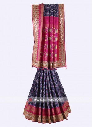 Navy blue and rani color pure silk saree