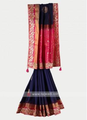 Navy blue and rani color pure silk saree