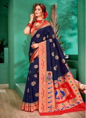 Navy Blue And Red Color Color Banarasi Silk Saree