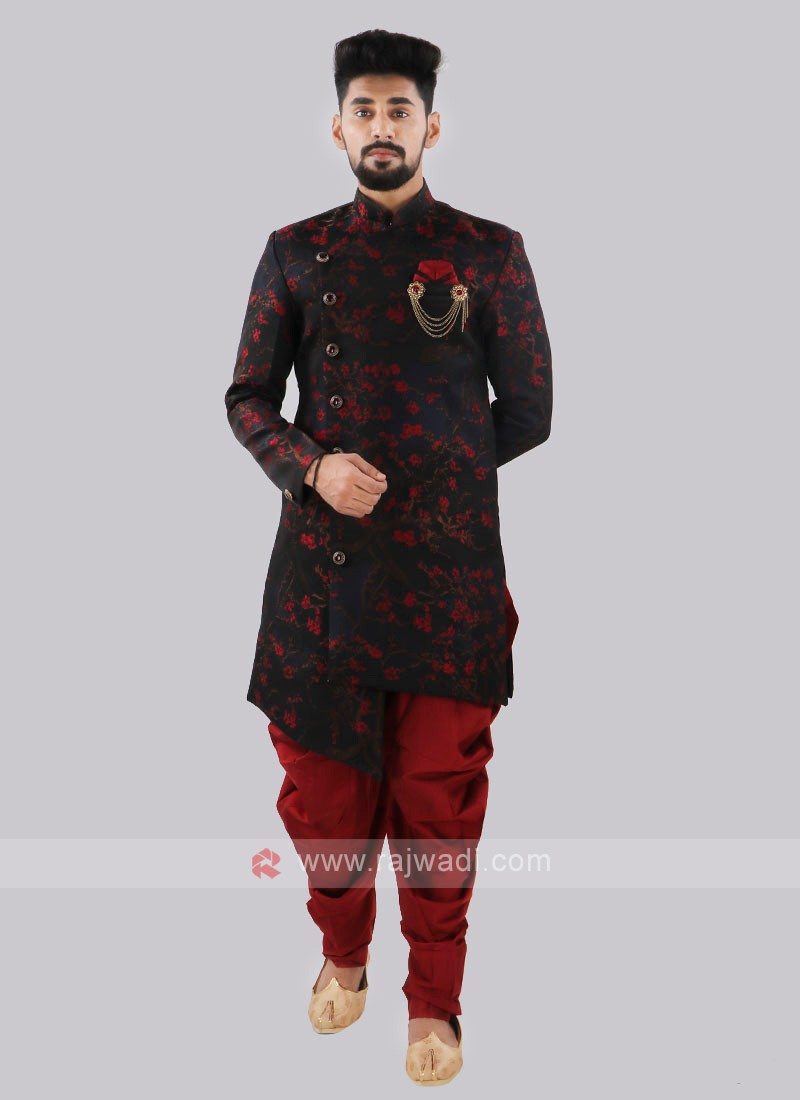 Navy Blue And Red Indo Western