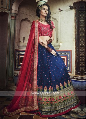 Navy Blue And Red Lehenga Choli