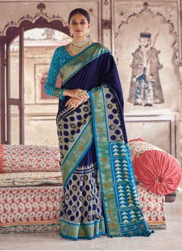 Navy Blue And Turquoise Saree With Patola Print