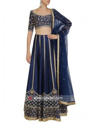 Navy Blue Art Silk Lehenga