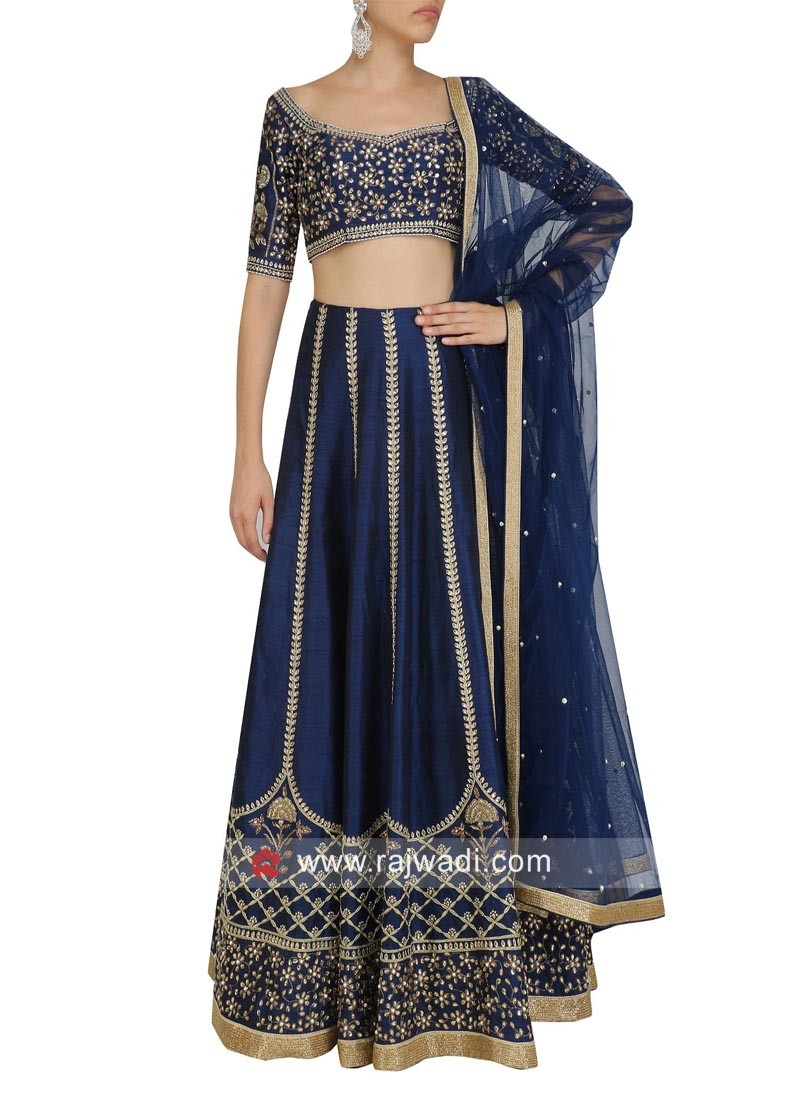 Navy Blue Art Silk Lehenga