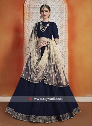 Navy Blue Lehenga Choli with Contrast Dupatta