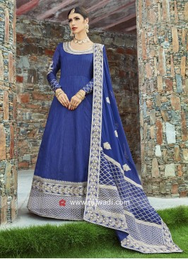 Navy Blue Art Silk Salwar Kameez