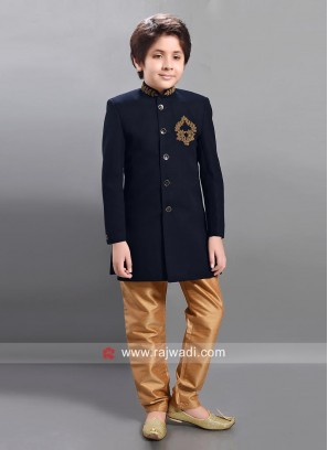 Navy Blue Art Silk Trouser Suit