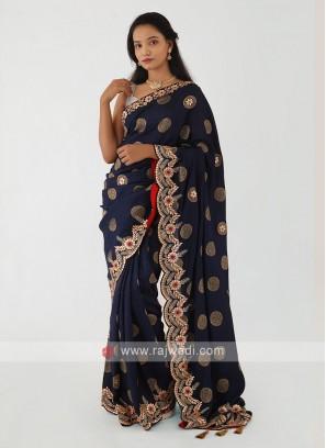Navy Blue Banarasi Silk Saree