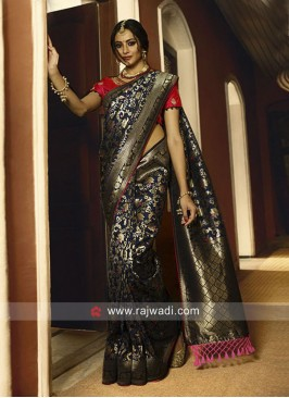 Navy Blue Banarasi Silk Wedding Saree