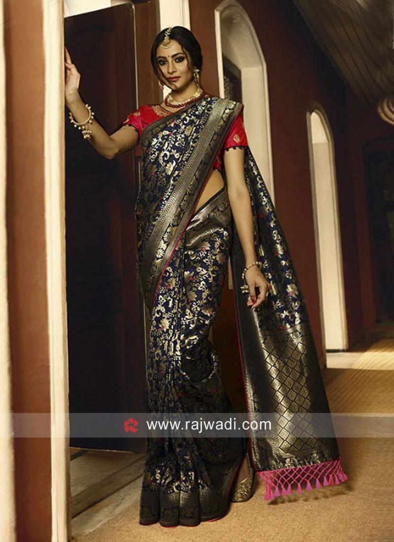 Navy Blue Banarasi Silk Wedding Saree