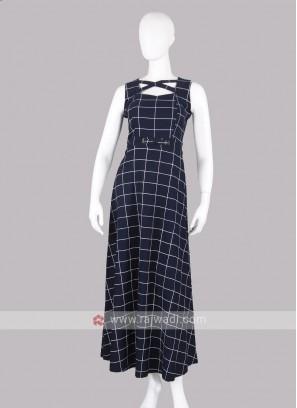 Navy Blue Checks Maxi Dress