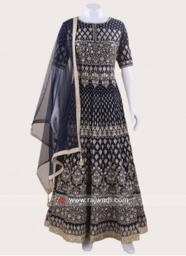 Navy Blue Chiffon Designer Anarkali Suit