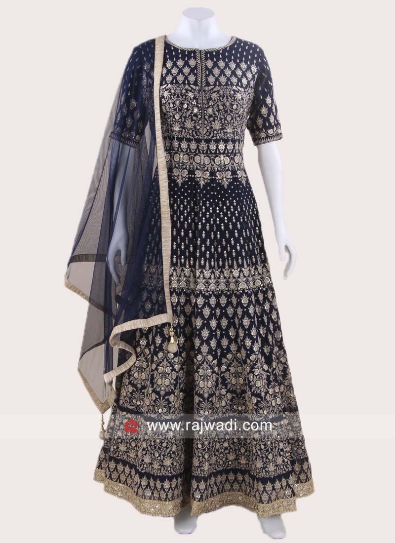 Navy Blue Chiffon Designer Anarkali Suit