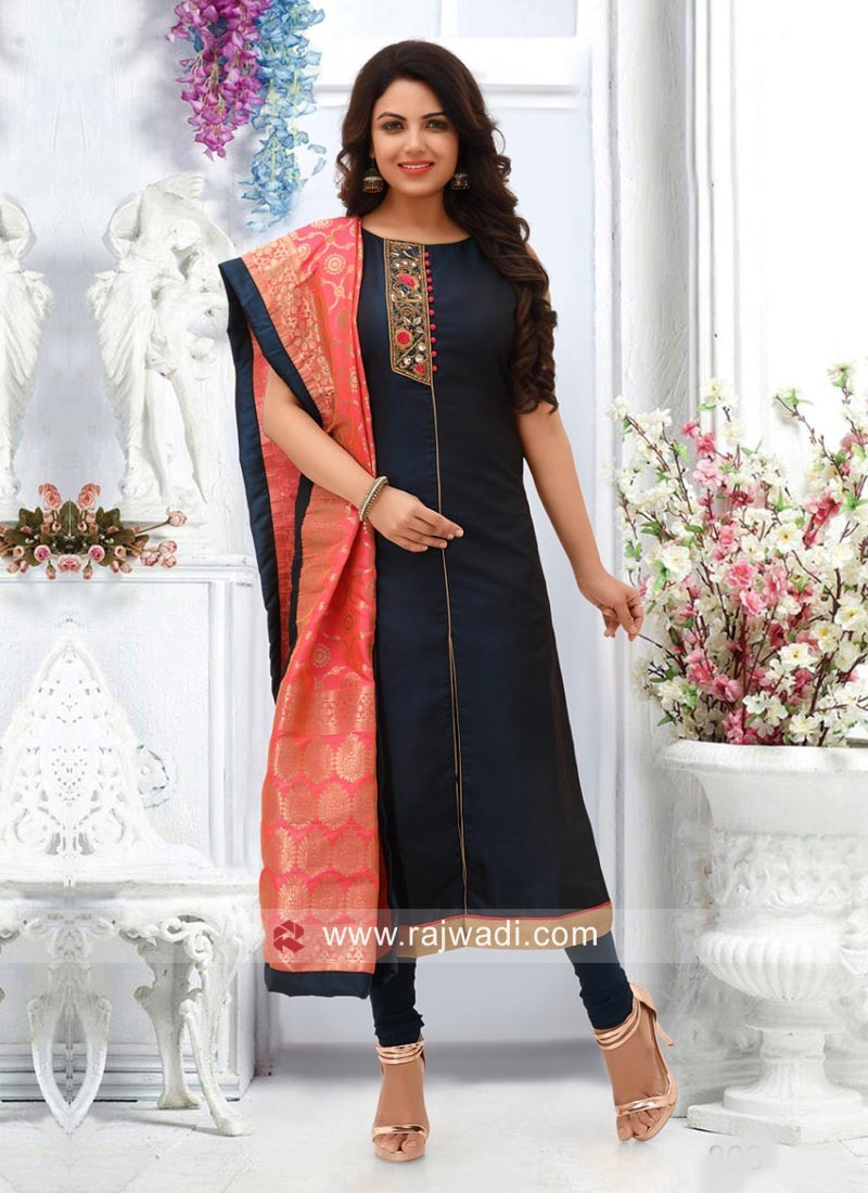 Navy Blue Churidar Suit with Contrast Dupatta