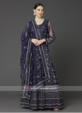 Navy Blue Color Anarkali Suit