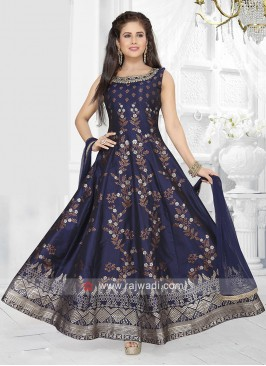 Navy Blue Color Anarkali Suit with dupatta