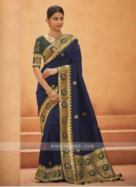 Navy Blue Color Art Silk Saree