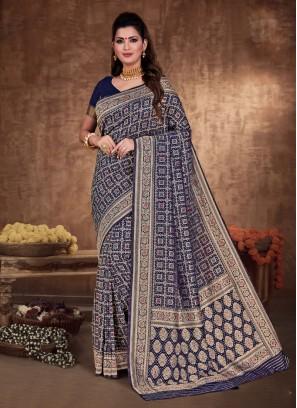 Navy Blue Color Banarasi Silk