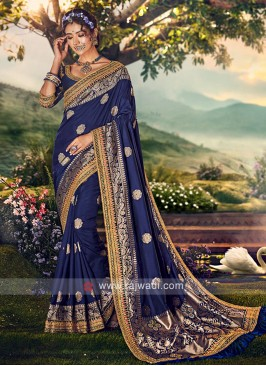 Navy Blue Color Banarasi Silk Saree