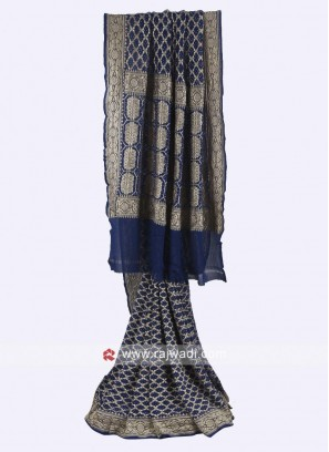 Navy blue color chiffon saree