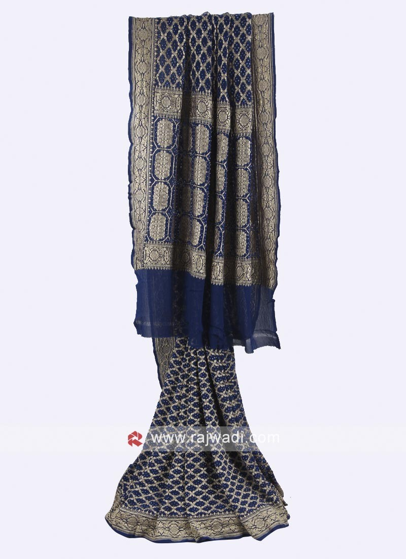 Navy blue color chiffon saree