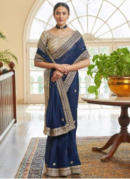 Navy Blue Color Classic Saree