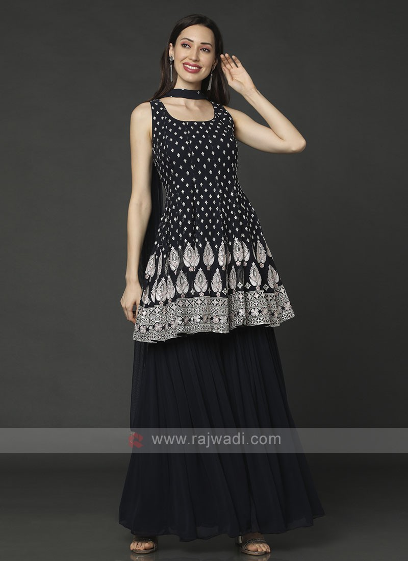 Navy Blue Color Gharara Suit With Dupatta