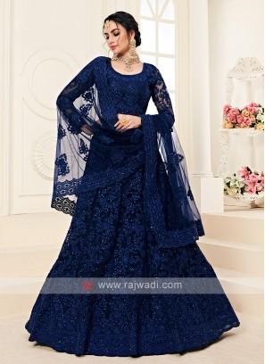 navy blue color lehenga choli