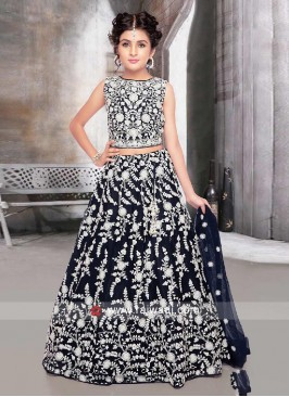 Navy Blue color net fabric choli suit