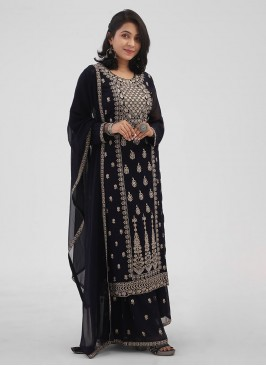 Navy Blue Color Party Wear Palazzo Suit With Resham Work