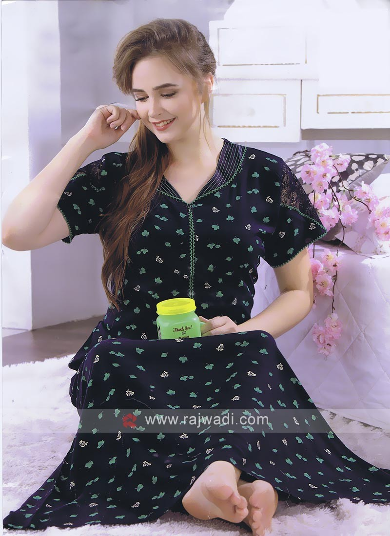 Navy Blue Color Printed Nighty