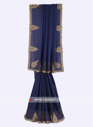 Navy blue color satin silk saree.
