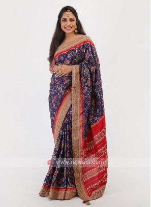 Navy Blue Color Silk Saree