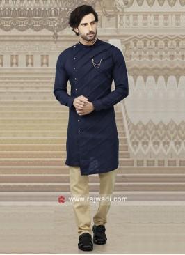 Navy Blue Cotton Kurta Pajama