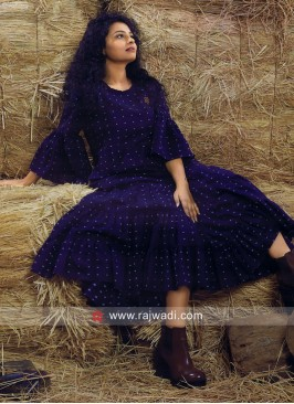 Navy Blue Cotton Polka Dot Kurti