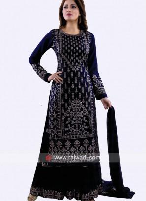 Navy Blue Cotton Silk Gharara Suit
