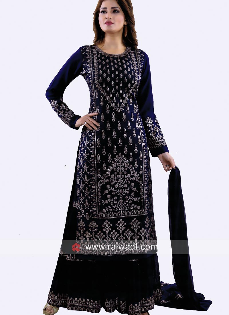 Navy Blue Cotton Silk Gharara Suit