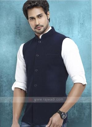Cotton Silk Navy Blue Nehru Jacket