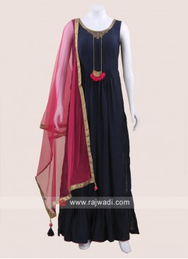 Navy Blue Cotton Silk Palazzo Suit