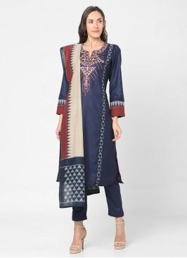 Navy Blue Cotton Silk Pant Style Suit